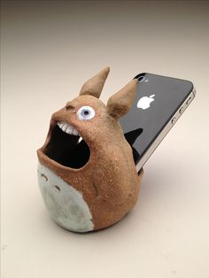 Art Ed Central loves this clay Prototype Totoro iPhone amplifier, thrown and altered- Alita Sledz