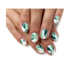 Approved. White + Palm Tree Mani