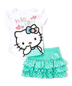 White & Aqua Polka Dot Hello Kitty Tee & Skirt - Toddler & Girls | Daily deals for moms, babies and kids