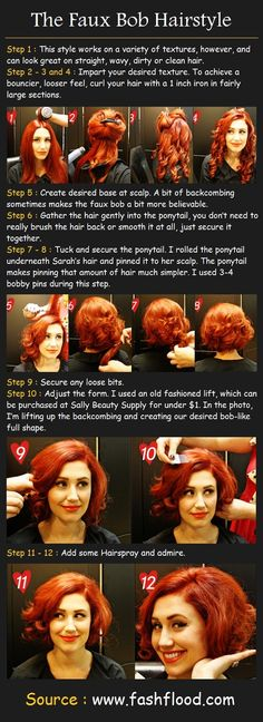 The Faux Bob Hair Tutorial. In case I get long hair, get tired of it, and want it to look short without cutting it! Thornton your gorgeous hair could pull this off way too well Long Bob Hairstyles, Wedding Hairstyles For Long Hair, Vintage Hairstyles, Pretty Hairstyles, Hair Wedding, Long Haircuts, Hairstyle Ideas, Makeup Vintage, Vintage Beauty