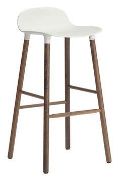 Form Bar stool - H 75 cm / Walnut leg White / walnut by Normann Copenhagen - Design furniture and decoration with Made in Design
