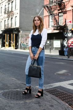 Long sleeve tee, under Cain, patchwork jeans