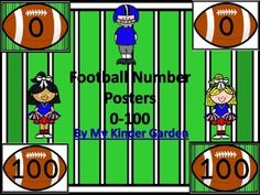 #Football Full Page #Number #Posters 0-100 Here is a large full page set of football number cards 0-100 that can be used at the beginning of the school year or anytime. There is a color background card for each number as well as a white background card for each number to save on ink or for if you would like to cut the footballs out.