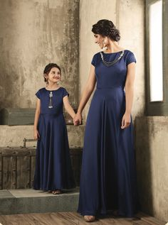 D.NO.- TC-16003 - KARMA MOTHER & DAUGHTER DESIGNER GOWN COLLECTION KARMA TC-16002 TO TC-16007 SERIES - DStyle Icon Fashion