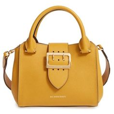 Women's Burberry Small Calfskin Leather Tote ($1,395) ❤ liked on Polyvore featuring bags, handbags, tote bags, bright straw, vintage tote bags, handbags totes, yellow tote bag, handbag satchel and yellow tote