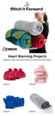 Stitch it forward! A new collection of Knit and Crochet projects for charity in Caron Yarns! From Yarnspirations