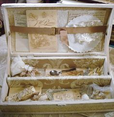 Interior of old boxes ~The Feathered Nest ~: