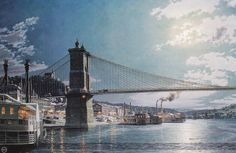 John Stobart - Cincinnati: The Public Landing by Moonlight in 1884.  Limited edition print from original the oil painting. Size: 20 1/2″ x 31″ Edition: 700  -- on ScrimshawGallery.com #JohnStobart #Stobart