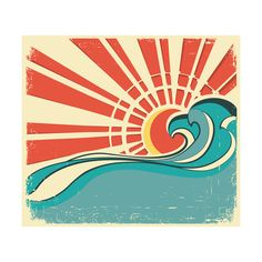 Sea Waves.Vintage Illustration Of Nature Poster With Sun On Old Paper Art Print at AllPosters.com