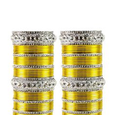 Mango Yellow Stone Studded Bangle Set