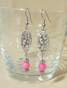 Pink & Silver Filagree Dangle Earrings by Pizzelwaddels on Etsy