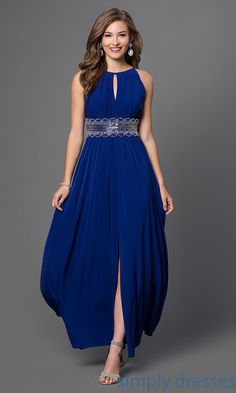 Shop Simply Dresses for high neck sleeveless prom gowns and long sleeveless dresses for prom. Cheap prom gowns for under $100 for formal dance.
