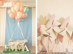 hot air balloon photo prop A walk in the clouds - Emma´s first birthday | CatchMyParty.com