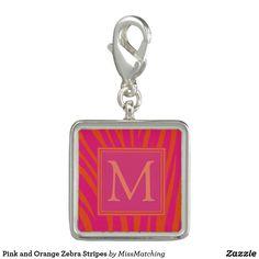 Pink and Orange Zebra Stripes Photo Charm