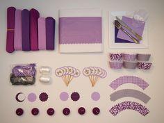 Purple Party & Shower DIY Decoration Package (PomPoms, Garlands, Cupcake Deco, etc.). $84.95, via Etsy.