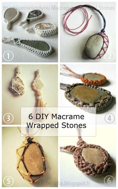 DIY 6 Macrame Wrapped Stone Tutorials from Ecocrafta. Its so cute for for pretty stones!