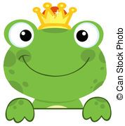 Cute Frog Prince Over A Sign Board