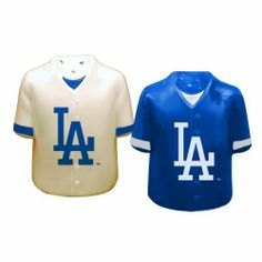 "MLB Los Angeles Dodgers Gameday Salt and Pepper Shaker by The Memory Company. $15.99. Hand Painted.. Team logo/mascot with team color.. Size 3.5"" tall by 3"" wide. Ceramic shakers are hand-painted in team colors and feature team logos  Each shaker is 3.5"" tall x 3"" wide"