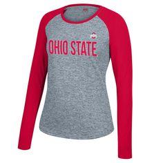 Ohio State Buckeyes Women's Free Agent Space Dye Long Sleeve T-Shirt - Gray/Scarlet - $28.99