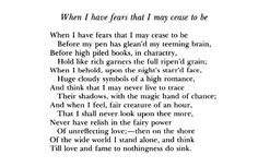 John Keats - When I have Fears that I may Cease to Be