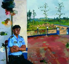 Liu Xiaodong (notice the left side of the painting served as the palette for the painting)