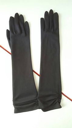 Vintage Long Mid-Arm Black Gloves New Old by foundundertheeaves