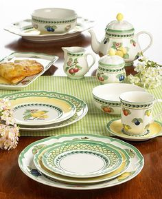 Villeroy and Boch Dining Collections - Macy's Italian Garden, Lattice Design, Mothers Day Brunch, Villeroy, Royal Copenhagen, Dinnerware Sets, Yellow Dinnerware, Cereal Bowls, Rice Bowls