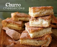 Churro Cheesecake Squares! Super easy!  Use Crescent dough and fill with cheesecake filling, top with cinnamon sugar when you pull it out of the oven! Voila!!