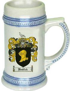 Bostick Coat of Arms / Family Crest tankard stein mug