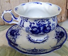 Russian Folk Art Gzhel Porcelain Cobalt Blue White Tea Cup Saucer Set  Signed #FlowBlue #Gzhel