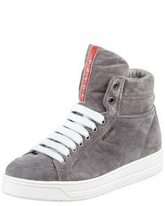 PRADA 2013 PRE FALL COLLECTION: Suede Side-Zip High-Top Sneaker by Prada Linea Rossa
