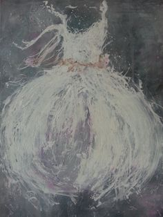 paint something similar for the nursery? original abstract acrylic ballet ballerina tutu by LARLOVES, $100.00