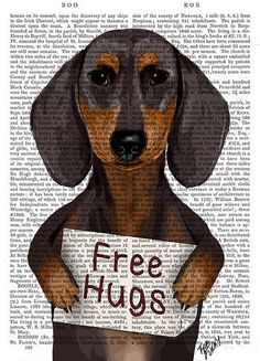 Dachshund Print Free Hugs - Dachshund poster Dacshund illustration doxie gift for dog lover dog Print dog art print valentines gifr for her Dog Lover Gifts, Dog Lovers, Dachshund Art, Daschund, Pug, Free Hugs, Valentines Gifts For Her, Canvas Artwork, Weiner Dogs