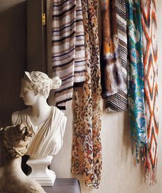 Patterned light scarves hanging on wall next to white sculpture Light Scarves, Fall Scarves, Scarf Storage, Prop Styling, Autumn Summer, Scarf Styles, Affordable Fashion, Fashion Beauty, Autumn Fashion
