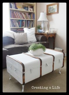 Antique steamer trunk repurposed to livingroom table this might work well for what we want. if we can find a cool trunk at a thrift store