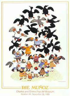 """""""Guillemot Legend"""" Poster by Rie Munoz for Charles and Emma Frye Art Museum 24"""" x 34"""""""