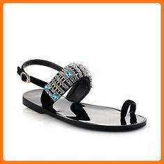 WeenFashion Women's Open Toe No Heel Frosted Solid Buckle Sandals, Black, 39 (*Partner Link)