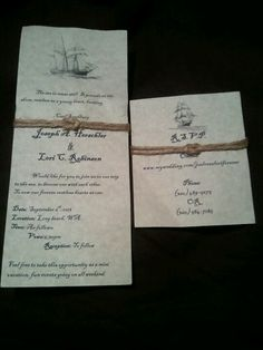 Wedding & rsvp cards, hand made under $10 perfect for nautical, beach, or pirate themed parties :)