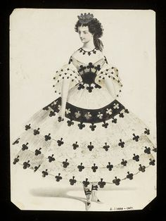 Queen of Clubs  Object: Design for a fancy-dress costume  Place of origin: Paris, France (made)  Date: 1860s (made)  Artist/Maker: Jules Helleu (designer)  Charles Frederick Worth, born 1825 - died 1895 (possibly, designed for)
