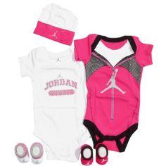 Jordan Baby Girls 5 Piece Athletic Warmup Set (0-6 months)