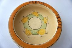 Sweet Old Roseville Vintage Baby Dish With by ThreeGoodWishes