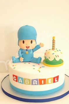 Ideas to decorate Pocoyo birthday party - Decoration and Fashion Diy Birthday Cake, Homemade Birthday Cakes, Happy Birthday Parties, 1st Boy Birthday, Birthday Party Themes, Cake Pocoyo, Party Decoration, Baby Kind, Cute Cakes