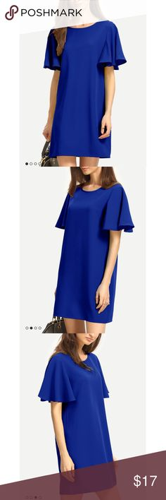 ✨ Ruffle Sleeve Blue Shift Dress - Ruffle Sleeve Blue Shift Dress - Adorable pull over blue shift dress is perfect for any occasion! Dress up for an event or dress down for work  - New without tags, purchased and removed the tags but never worn  - Material: 95% Polyester, 5% Spandex, comfortable and good quality  - Brand: Local boutique called my best friends closet (feel free to google)  - Size: Tag is L but runs small and why I'm selling, would fit a M with a small-medium bust best  *20%…