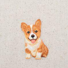 Corgi - Puppy Dog - Sitting - Full Body - Embroidered Patch - Iron on Applique - Iron On Embroidered Patches, Iron On Applique, Iron On Patches, Embroidery Applique, Embroidery Patterns, Brother Embroidery, Embroidered Caps, Embroidery Patches, Pembroke Welsh Corgi Puppies