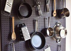 DIY Kitchen Pegboard As Kitchenware Organizer Design Ideas: Stylish DIY Home Decoration Ideas, Easy but Stunning Diy Kitchen, Kitchen Storage, Kitchen Decor, Kitchen Design, Kitchen Pegboard, Kitchen Tools, Kitchen Ideas, Kitchen Organizers, Kitchen Black
