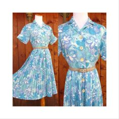 Vintage 60's Day Dress Floral Mad Men Mid Century Full Skirt Flower Power Pleated Shirt Dress Button Up Cuffed Sleeves Size Small Medium