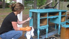 turquoise painted desk