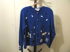 JACK B QUICK Sweater Blue Scottie Dalmation Poodle Weenie Dog Bones Leash  XL  #JackBQuick #Cardigan #doglover #poodle #dalmation #scottiedog #weeniedogwednesday