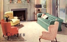 FROM THE FINE FURNISHINGS FOR EVERY HOME FILE: Here is a 1961 advertisement Fine Custer living room furniture by Dallas, Inc. - High Point, North Carolina. You've got to love those 1961 colours! If you don't, then dammit, get off of my 1961 page! ;)