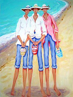 The Treasure Hunters Women Seashells Beach Seashore by korpita, $28.00